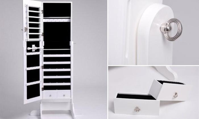 meuble miroir coffre avec rangements bijoux et accessoires au choix groupon shopping. Black Bedroom Furniture Sets. Home Design Ideas