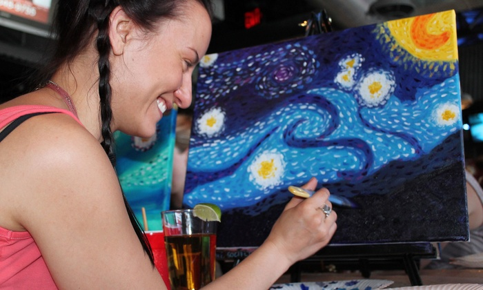 The Social Canvas - Multiple Locations: Three-Hour Painting Class for Two or Four or Private Painting Party at The Social Canvas (Up to 72% Off)