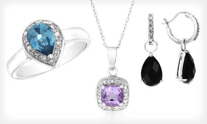 Sterling-Silver Gemstone Jewelry: Sterling-Silver Gemstone Necklaces, Rings, or Earrings (Up to 83% Off). Nine Options Available. Free Shipping.