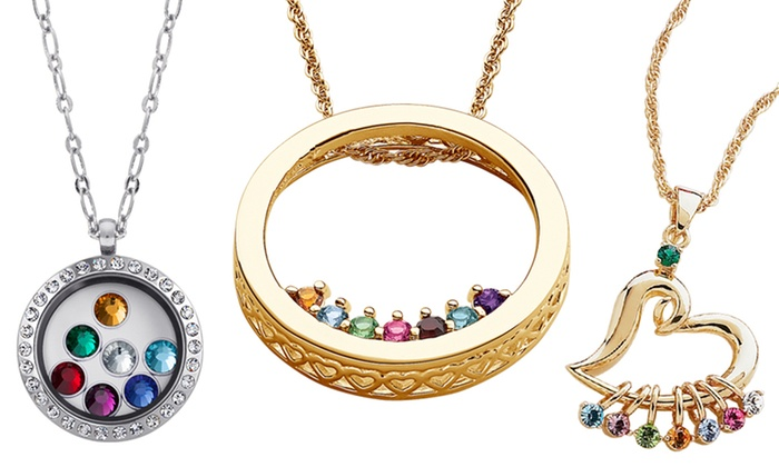 Mother's Limogès Jewelry: Mother's Circle Birthstone Necklace, Heart Charm Necklace, or Silvertone Locket from Limogès Jewelry (Up to 78% Off)