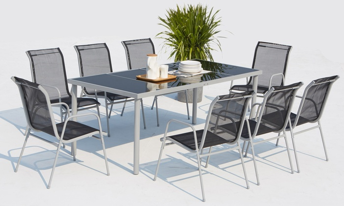 jusqu\'à 54% Salon jardin Malaga 6/8 chaises | Groupon