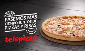 Telepizza: Telepizza: pizza mediana o familiar masa fina con el humor de Comedy Central desde 5,95€
