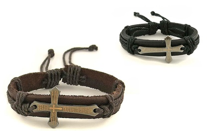 Leather Prayer Bracelet with Stainless Steel Cross for Men or Women