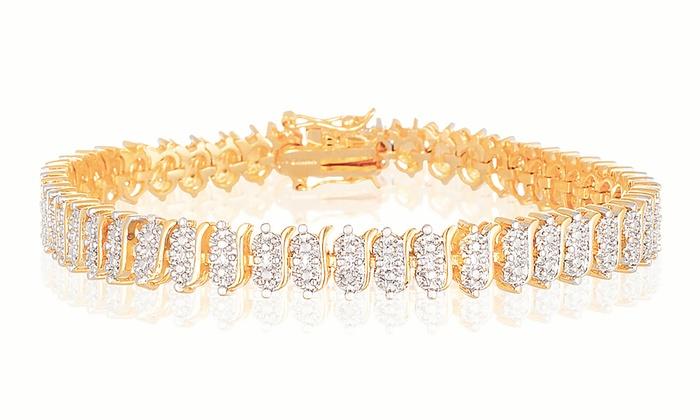 Diamond Accent Tennis Bracelet in 18K Gold Plating