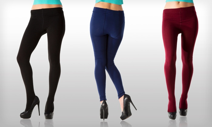 Two Pairs of Women's Fleece-Lined Tights: 2-Pack of Women's Fleece-Lined Tights. Multiple Colors Available.
