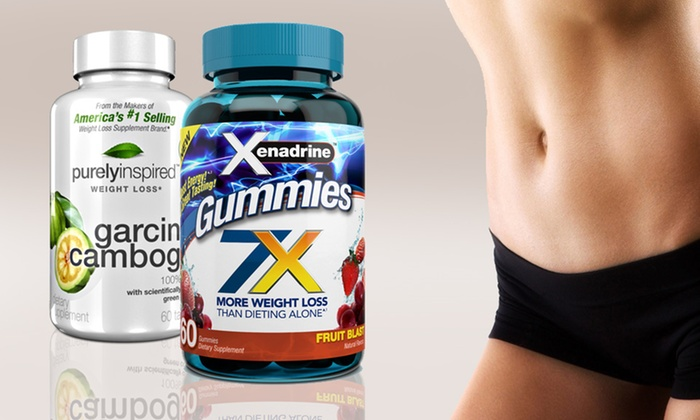 Weight-Loss Gummies and Garcinia-Cambogia Tablets: 1 Bottle of Xenadrine Gummies and 60 Tablets of Purely Inspired Garcinia-Cambogia Weight-Loss Supplement. Free Shipping.