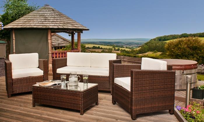 Rattan garden furniture set groupon goods for Garden furniture 70 off