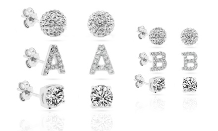 Crystal Stud Earrings 3-PC Set with Swarovski Elements