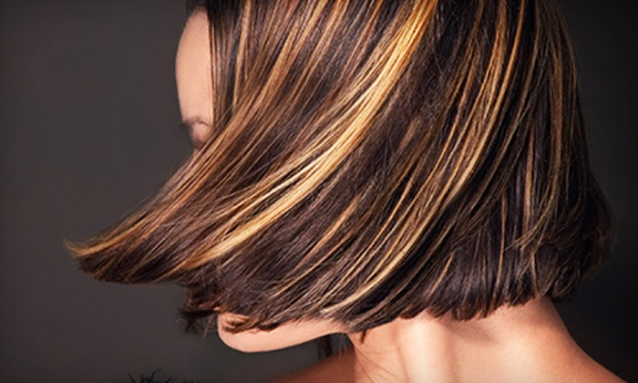 b2 Salon - Multiple Locations: Haircuts with Full Highlights or Keratin Treatment at b2 Salon (Up to 63% Off). Three Locations Available.