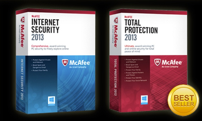 McAfee: PC Download of McAfee Internet Security 2013 or McAfee Total Protection 2013 (Up to US$76.49 Value)