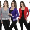 Women's Long-Sleeve V-Neck Button-Front Cardigan Sweater