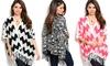 Women's Printed Kimono Wrap with Fringe: Women's Printed Kimono Wrap with Fringe