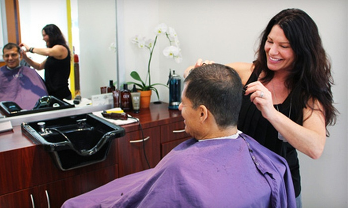 18|8 Fine Men's Salons - Irvine: One or Two Men's Executive Haircuts with Hot eos Shaves at 18|8 Fine Men's Salons in Irvine (Up to 61% Off)