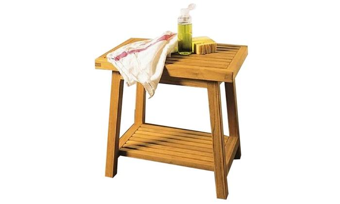 Solid Teak Shower Bench Bath Stool Or Side Table