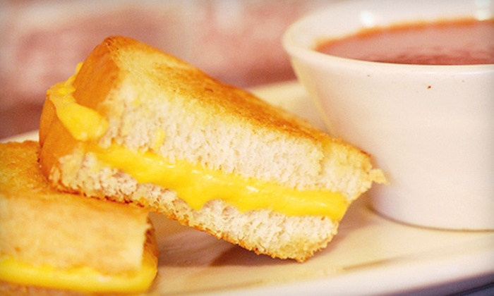 Tom + Chee - Newport: $8 for a Gourmet Grilled-Cheese Meal for Two with Soup or Drinks and Chips at Tom + Chee (Up to $17.28 Value)
