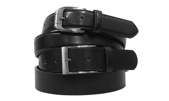 Beverly Hills Polo Club 2-Pack of Black and Brown Classic or Casual Men's Leather Belts (Size 32)