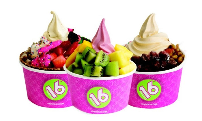 16 Handles - Garden City: $12 for Four Groupons, Each Good for $5 Worth of Frozen Yogurt at 16 Handles ($20 Value)