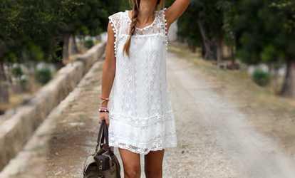 Bei Groupon shoppen Sommerliches Kleid mit Spitze 2547177c32