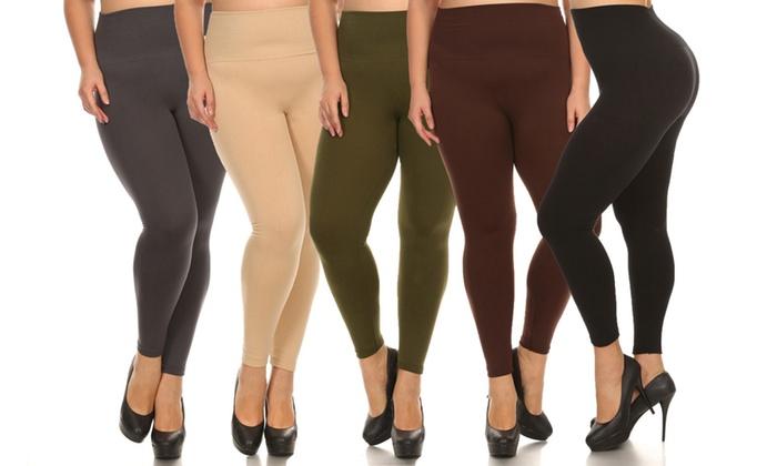 7ea7d126eb3 Women s High Waist Fleece Leggings in Plus Size (5-Pack)