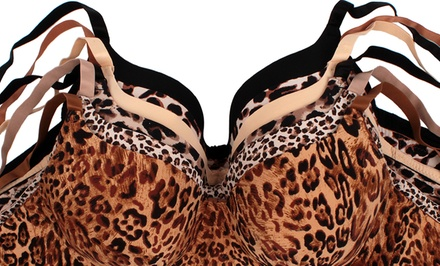 6-Pack of Plus-Size Animal-Print Microfiber Bras