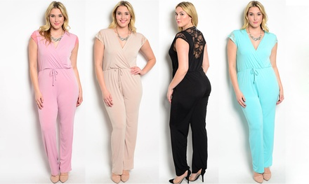 Women's Laced-Back Plus-Size Jumpsuit