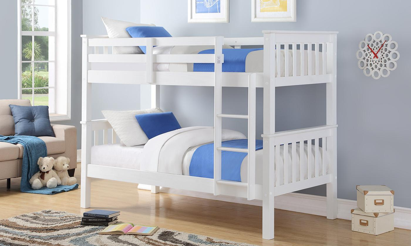 Harmony Wooden White Bunk Bed with Optional Single Mattresses