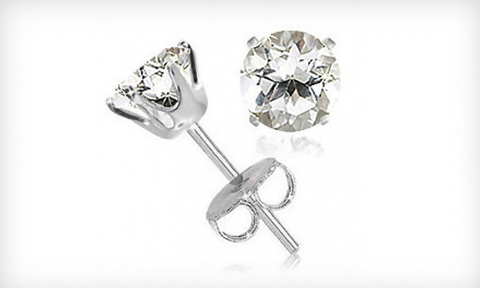 White-Topaz Stud Earrings: $9 for a Pair of 2-Carat White-Topaz Stud Earrings ($99.99 List Price). Free Shipping.