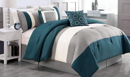 Color-Block Stitched Comforter Set (6-Piece)
