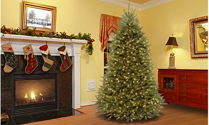 Pre-Lit 7.5 Ft. Christmas Tree with White or Multicolored Lights ...
