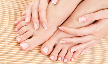 One or Three Classic or Shellac Mani-Pedis at Divine Touch Exclusive Nail Studio (Up to 67% Off)