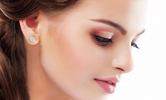 2 Cttw Cubic Zirconia And Sterling Silver Stud Earrings