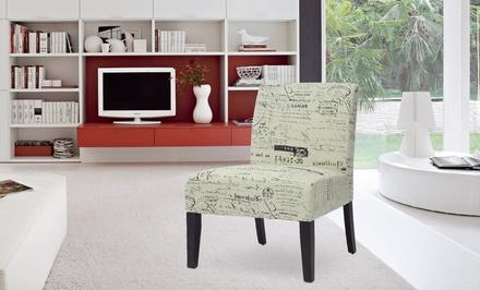 Linen Accent Chair in Manuscript Pattern