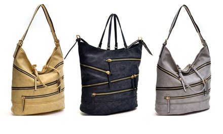 Dasein Monserrate Quilted Hobo Bag with Zipper Accents