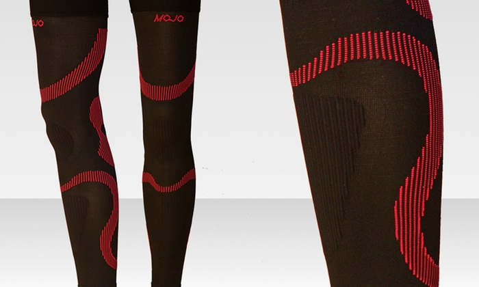 MoJo Sports Recovery Thigh Sleeves: $29.99 for 1 Pair of MoJo Sports Recovery Thigh Sleeves in Black/Red or Black/Yellow ($65 List Price). Free Shipping.