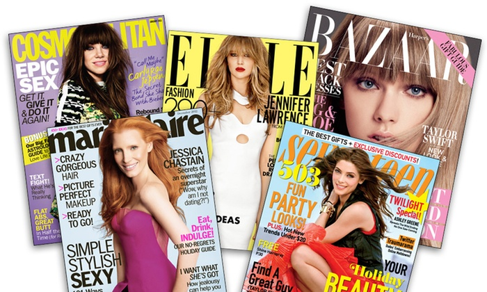 "Fashion Magazine Subscriptions: One-Year Subscription to ""Cosmopolitan"", ""ELLE"", ""Harper's BAZAAR"", ""Marie Claire"", or ""Seventeen"" (Up to 67% Off). Free Shipping."