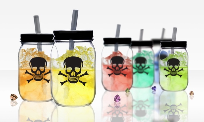 Set of Glass Mason Jars with Skull-and-Crossbones Design: Set of Glass Mason Jars with Skull-and-Crossbones Design. Free Returns.