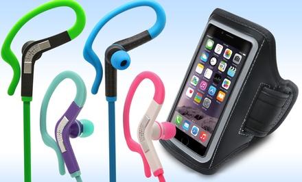 Aduro Sport Sweatproof Headphones with Mic and Armband Bundle