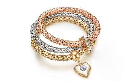 Set de 3 bracelets Forever Love ornés de cristaux Swarovski®