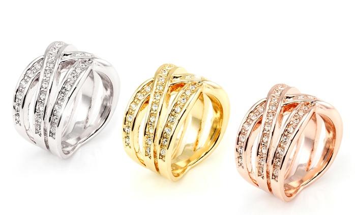 1 ou 3 Bagues tressées plaquées or 18 carats et ornées de cristaux Swarovski® dès 9,90€