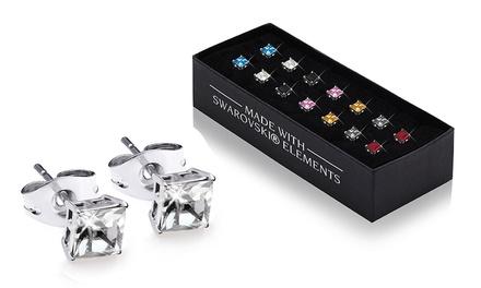 Set de 7 paires de boucles doreilles ornées de cristaux Swarovski®