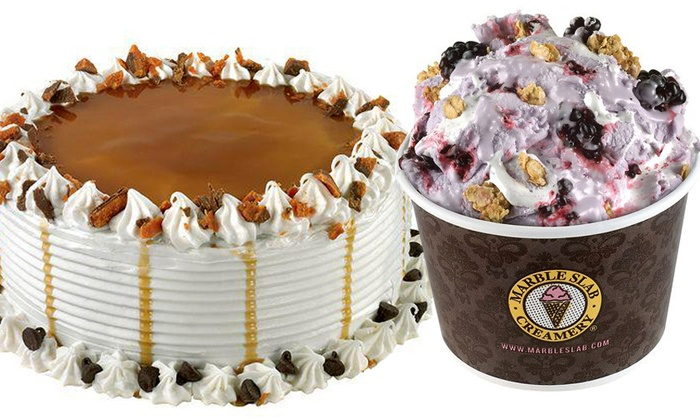 """Marble Slab Creamery - Homestead Shopping Center - Walden Park at Lakeline: Three Groupons, Each Good for Two Small Ice-Creams or 6"""" Ice-Cream Cake at Marble Slab Creamery (Up to 52% Off)"""