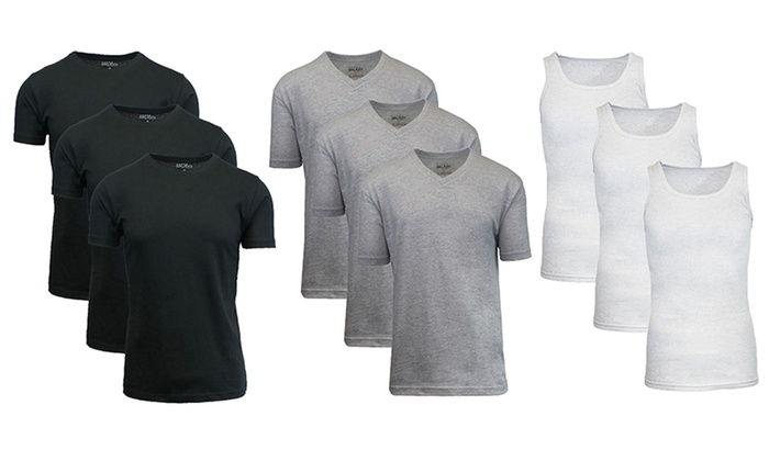 Galaxy by Harvic Men's Cotton-Blend Crew- or V-Neck Undershirts or Tank Tops (6-Pack)