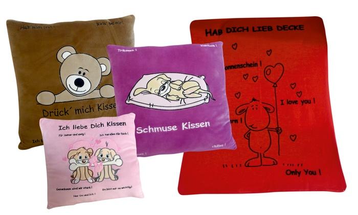 kissen und decke mit spr chen groupon goods. Black Bedroom Furniture Sets. Home Design Ideas