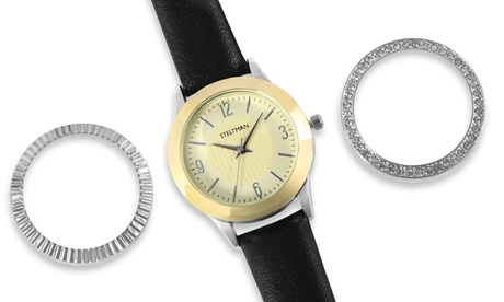 Reloj analógico con 3 biseles cambiables para mujeres Steltman