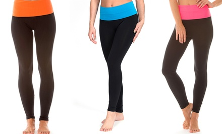 Yoga Leggings with Foldover Waistband