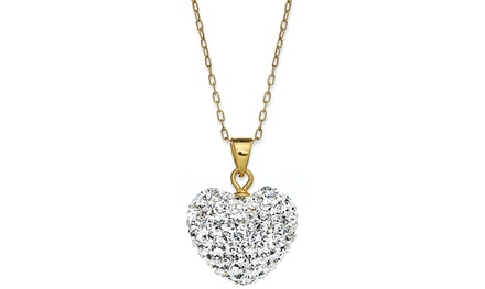 14K Gold Heart Pendant with Swarovski Elements