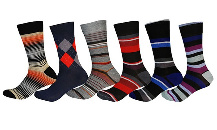 Alberto Cardinali Men's Fancy Pattern Dress Socks (6-Pack)