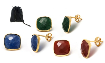 Cushion-Cut Opaque Genuine Gemstone Stud Earrings