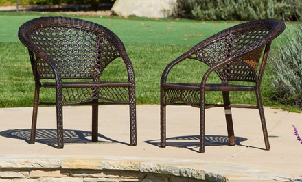 Malibu Set of 2 Outdoor Wicker Club Chairs