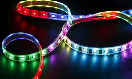 16' Flexible Multicolored LED Light Strip with Multiple Flash Patterns, Remote Control, and Mounting Tape